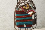 Retro Striped Felted Wool Striped Messenger Bag by Rosy Toes Designs. Bright Floral on Turquoise ribbon with chocolate sunburst lining. By Rosy Toes Designs.  $182