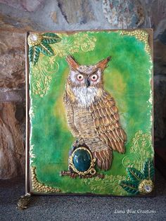 Your place to buy and sell all things handmade Polymer Journal, Polymer Clay Owl, Journal Covers, Book Covers, Clay Pen, Clay Minerals, Great Horned Owl, Clay Creations, Art Forms