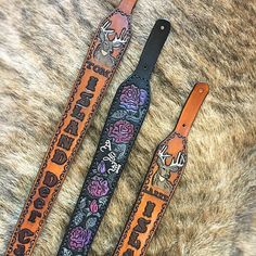 A few custom leather rifle slings #gunsling#hunting#handmade#leathercraft#custom#leather#tooledleather#leather goods#leatherprojects#appaloosaleather#huntingseason#huntinggear#riflesling#handcrafted#customslings#customleather#huntingthings#outdoors #outdoorsman #etsy#hunt#hunter#huntingthings#madeincanada#girlshunttoo#huntress#girlhunter