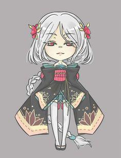 Kimono chibi with white hair