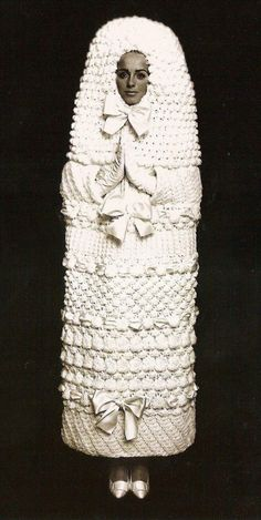 // YSL knitted wedding dress 1965 Never thought YSL could make mistakes.I was wrong. Lol Still a huge YSL junkie though Funny Wedding Dresses, Weird Wedding Dress, Unusual Wedding Dresses, Crochet Wedding Dresses, Crazy Wedding, Ugliest Wedding Dress, Dream Wedding, Modest Wedding, Wedding Night