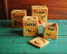 Kitchen Canister Set Nesting Wooden Boxes with Hand by BingoBox, $33.00