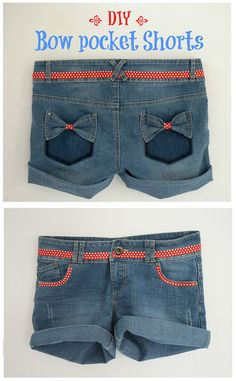 DIY Denim Shorts - with Bow Pockets - http://poshwomen.com/diy-denim-shorts-bow-pockets/ - #Denim, #DiyFashion, #Shorts