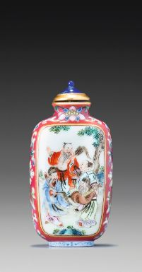A RUBY-GROUND FAMILLE-ROSE PORCELAIN 'EIGHT IMMORTALS' SNUFF BOTTLE<br>SEAL MARK AND PERIOD OF QIANLONG | lot | Sotheby's