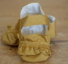 Baby Girl Shoes Frilly Gold Mary Janes, Soft Sole Baby Booties