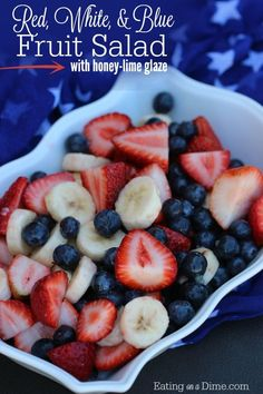 Need more fun 4th of July food ideas? Make this super easy Red White and Blue Fruit Salad. The entire family will love it!