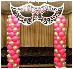 """Photo 1 of Masquerade sweet 16 / Quinceañera """"Masquerade Sweet love the two towers of balloons Masquerade Party Decorations, Masquerade Ball Party, Sweet 16 Masquerade, Masquerade Theme, Prom Decor, Balloon Decorations, Venetian Masquerade, Sweet 16 Birthday, Birthday Parties"""