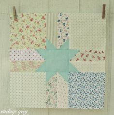 vintage grey: quilt blocks and a vintage baby quilt