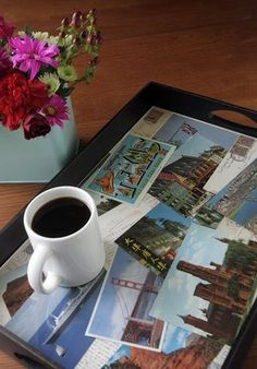 A postcard tray can help you savor vacation memories – along with morning coffee or afternoon tea.