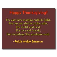 Thanksgiving Postcard - Happy thanksgiving! | #thanksgiving #wishes #poem #cards #emerson