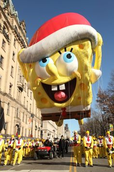 SpongeBob and the Teenage Mutant Ninja Turtles play starring roles in the event. Thanksgiving Day Parade, Teenage Mutant Ninja Turtles, Spongebob, Disney Characters, Fictional Characters, Entertaining, Parade Floats, Sponge Bob, Fantasy Characters