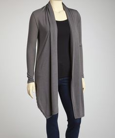 This Gray Long Open Cardigan - Plus by Poliana Plus is perfect! #zulilyfinds