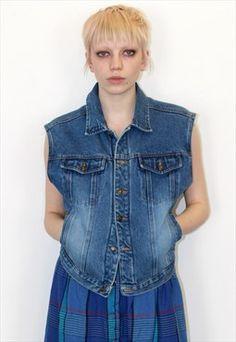 90s Vintage Sleeveless gilet Blue Denim Jacket waistcoat Festival Fashion, Blue Denim, Vintage Outfits, Vest, Boutique, Pretty, Skirts, T Shirt, Jackets