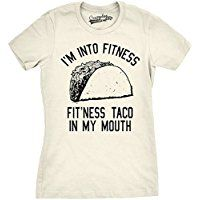 Womens Fitness Taco Funny Gym T Shirt Humorous Mexican Food Tee For Ladies ** Visit the image link more details.