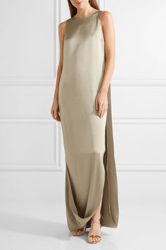 Halston Heritage - Cape-effect Satin And Crepe Gown - Mushroom - US