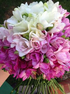 Pink and white freesia ombré hand tied bouquet