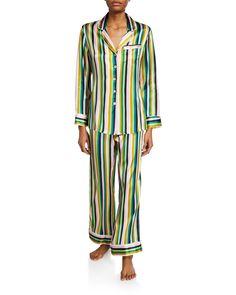 Women's Pajamas & Pajama Sets at Neiman Marcus Olivia Von Halle, V Violet, Silk Pajamas, Long Sleeve Pyjamas, Pj Sets, Short Tops, Pajamas Women, Lounge Pants, Pajama Set