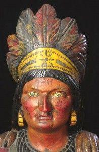 This life-sized carving of an American Indian chief, carved in the last quarter of the 19th century is also attributed to Brooks. It is painted in bright, polychrome enamel and features an outstretched right arm holding a bundle of cigars while another bundle of cigars is in the crook of his left arm. Despite missing the original carved wooden rifle, it realized $21,850 in auction in 2006 at Cowan's Auctions. Check out this awesome WorthPoint article!