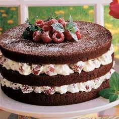 Chocolate Raspberry Torte .... I just make a sheet cake and frost with the pudding/cream cheese raspberries.