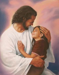 Jesus smiling with the little girl<<I want that to be me one day (the girl)