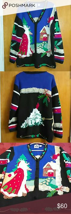 Handknits by Storybook Knits Christmas Sweater! This handknits Christmas sweater by storybook Knits is a size large and is made of 53% Remy 40% cotton and 7% acrylic. It is an oversized sweater so could be worn by an extra large as well. It measures approximately 28 inches long and 24 inches across the bust line. It features Santa and a reindeer pulling a tree which goes around the back side, to a home, for Christmas. It is in great condition! You will look great at home or at a work…