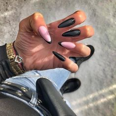 Black French Nails, Black Acrylic Nails, French Nail Art, Almond Acrylic Nails, Black Nail Tips, Nail Tip Designs, Black Nail Designs, Almond Nails Designs, Long Almond Nails
