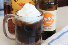 I love butterscotch! Fireball and Butterscotch Root Beer topped with whipped cream. #Fireball #recipe #rootbeer
