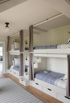 Cottage built-in bunk beds featuring gray privacy curtains on rails, drawers and. - Cottage built-in bunk beds featuring gray privacy curtains on rails, drawers and a center staircase - Bunk Bed Rooms, Dream Rooms, Bunk Beds For Boys Room, Bed, Home, Bunk Beds Built In, Bed For Girls Room, Bedroom Design, Home Decor