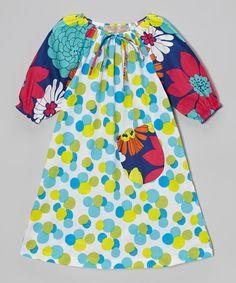 Lele Vintage Aqua & Green Polka Dot Floral Peasant Dress - Toddler & Girls by Lele Vintage #zulily #zulilyfinds