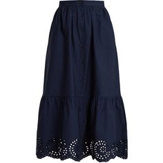 Mes Demoiselles Clem button-down cotton skirt ($190) ❤ liked on Polyvore featuring skirts, navy, button up skirt, patterned skirts, blue cotton skirt, gathered skirt and knee length flared skirts