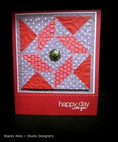 handmade quilt card ... fun colors: lavender and deep red ... luv it! ... Stampin' Up!