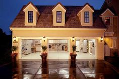 Three-Car Garage with Traditional Exterior Clean Garage, Organized Garage, Garage House, Garage Doors, Cool Garages, Traditional Exterior, Garage Organization, Garage Storage, Organizing