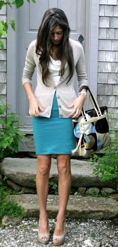 Colors for spring - {sweater: Banana Republic}  {top: Arden B}  {skirt: Forever 21}  {bag: Coach}  {pumps: Steve Madden}  {watch: Michele}
