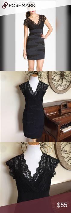 Betsy & Adam Size 12 Black Cocktail Dress w/ Lace Excellent Condition! Gorgeous Size 12 Black Cocktail Dress by Betsy & Adam. Betsy & Adam Dresses Midi