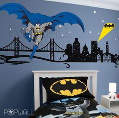 Batman Wall decal Super Hero Cityscape - Avengers Wall sticker for Kids Room