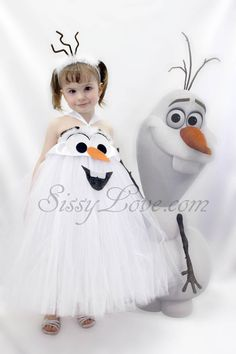 Disney Frozen Olaf Inspired Tutu Costume Halloween Store Party Dress Elsa Anna