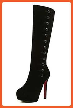 51752eaaae4 AllhqFashion Women s Frosted Round Closed toe High-heels Solid Boots