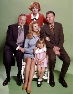 B'day celebrant Elizabeth Montgomery with some of the Bewitched cast Maurice Evans, Agnes Moorehead, Erin Murphy and Dick Sargent