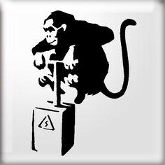 banksy stencils | Monkey detonated by detonator stencil art
