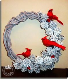 WOW!!! LOVE LOVE LOVE. White Wreath | Victorian Studio...love the white pinecones Cardinals..maybe use evergreen wreath or frosted evergreeen wreath????