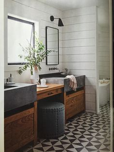 Marina del Rey bath | Daleet Spector Vertex cement sink, Mosaic House cement floor tile