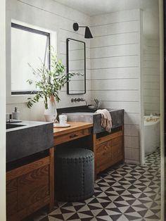Marina del Rey bath | Daleet Spector Vertex cement sink, Mosaic House cement floor tile