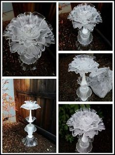 Reserved Please do not Purchase Frosted clear and white milk glass flower garden totem, bird bath, bird feeder
