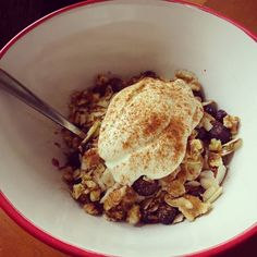 Yum breakfast! And it's a coconut porridge kind of day. Served with blueberries slivered almonds walnuts a big blob if greek yoghurt and a sprinkle of cinnamon.
