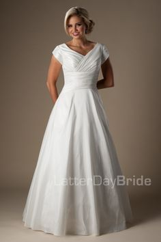 modest wedding dress features a lovely ruched taffeta bodice and thick flattering waistband to flatter your favorite features, modest utah wedding gowns, front view Modest Wedding Dresses, Bridal Dresses, Bridesmaid Dresses, Prom Dresses, Elegant Dresses, Sexy Dresses, Budget Wedding Dress, Romantic Dresses, Summer Dresses