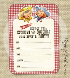 Cute Vintage Cowboy and Cowgirl Themed  by PinkPaperTrail on Etsy, $7.00
