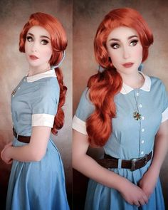 Quarantine Costume #3. Remember when I told you to look for the biggest piece of fabrics you have? I bought this light denim fabric for… Anastasia Cosplay, Red Lace Front Wig, Ombre Hair Color, Synthetic Lace Front Wigs, Wig Cap, Denim Fabric, Light Denim, Hairline, Natural Looks