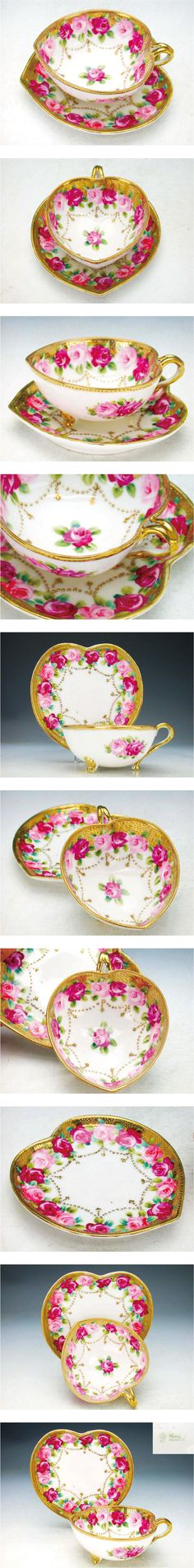 Old Noritake  heart shaped cup and saucer  c.1891