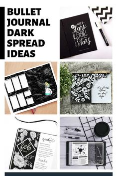 These dark bullet journal themes will blow you away - so be brave and give a white on black spread a try yourself next month! February Bullet Journal, Bullet Journal Monthly Spread, Bullet Journal Cover Page, Bullet Journal Banner, Bullet Journal Hacks, Bullet Journal Printables, Bullet Journal Themes, Bullet Journal Layout, Journal Covers