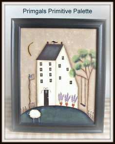 Spring Saltbox Primitive Canvas Painting Handpainted Picture Framed Home Decor. $19,95, via Etsy.